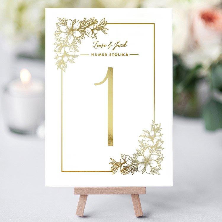 Numer Stolika Kwiaty Plakat ślubny Złoty Druk