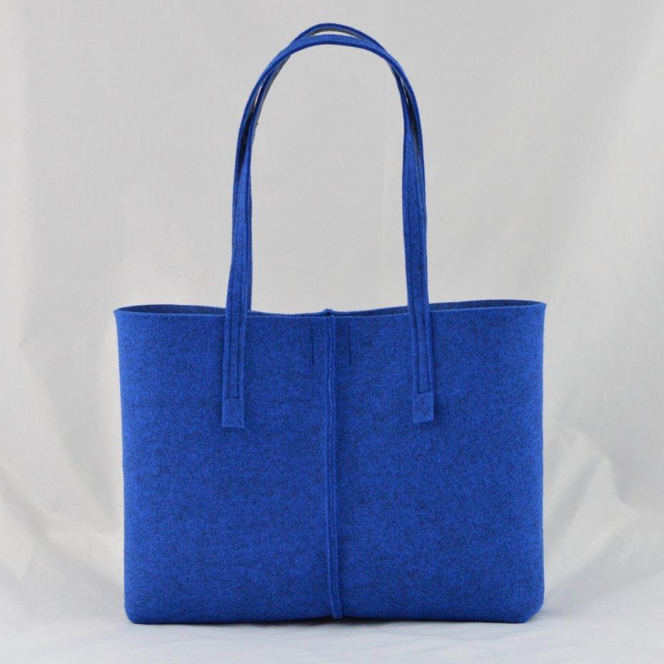 Duża Niebieska Torebka z Filcu Minimalistyczna NISKA