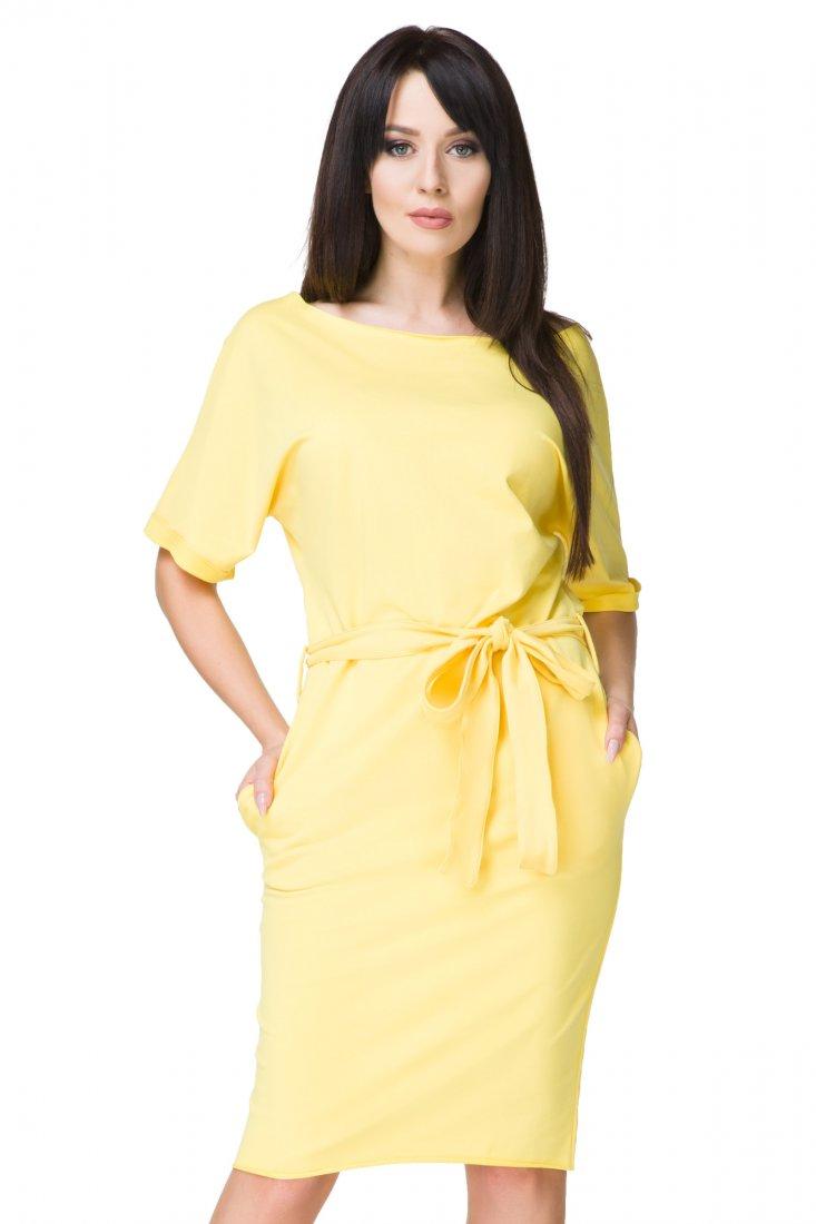 a25f0a8fd0a30d Sukienka kimono z paskiem i kieszeniami, T186 żółty - Ubrania ...