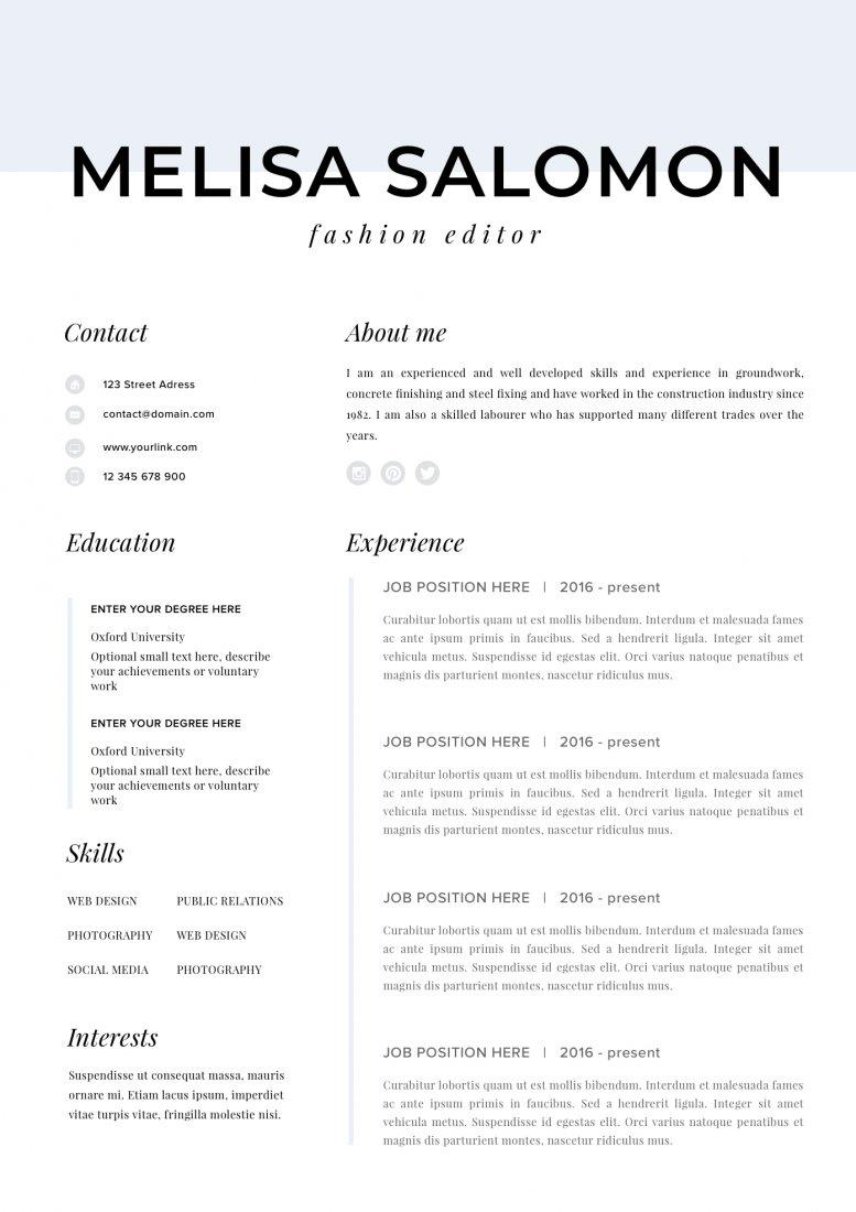 Szablon Cv Wzor Cv Projekt Cv Curriculum Vitae Milan