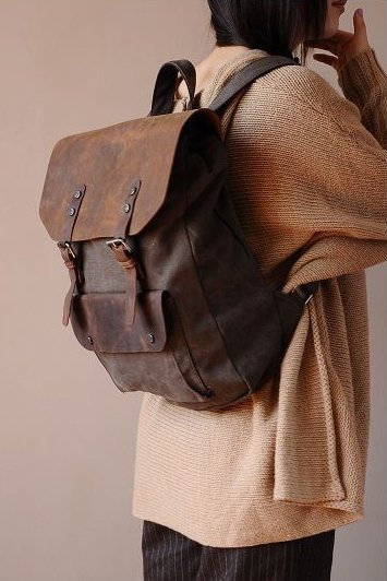 dc63e3ab824fa P2 Plecak 'VINTAGE 2' płótno-skóra naturalna A4 KAWOWY - Torebki ...