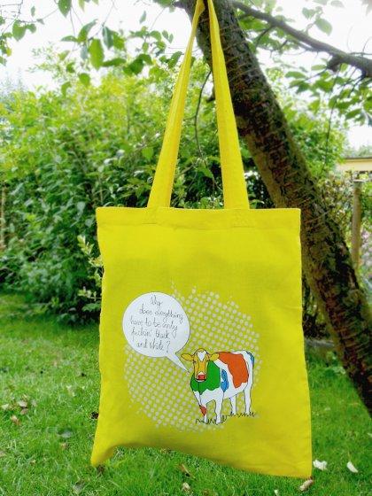 Eko torba na ramię na zakupy A4 śmieszny nadruk Krowa kolor żółty cytrynowy