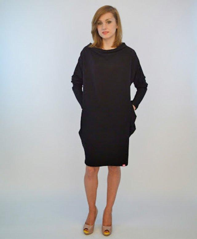 fd9ccc5225 czarna dresowa sukienka z kieszeniami one size - Ubrania - DecoBazaar