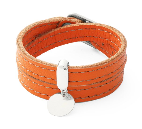 LEATHER BELT - orange with coin.