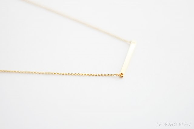 16k Gold Plated Horizontal Bar Necklace