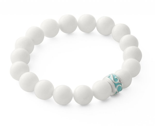 White jade with mint bead.