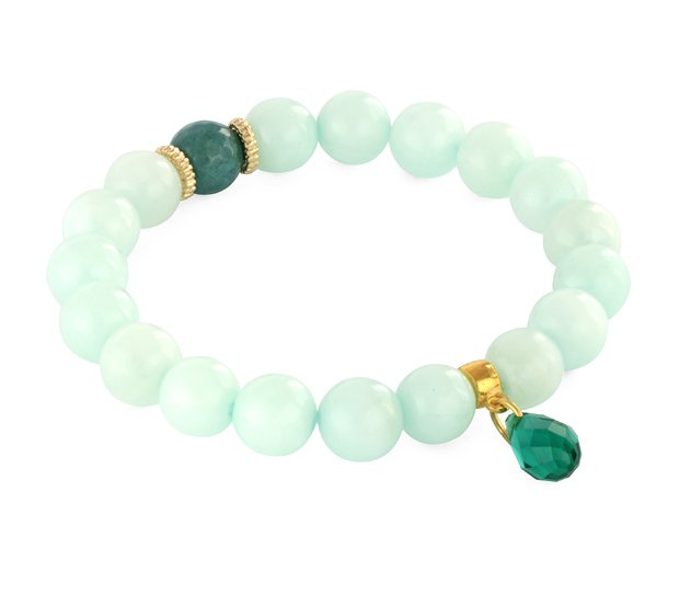 EMERALD & MINT JADE WITH CRYSTAL DROP.