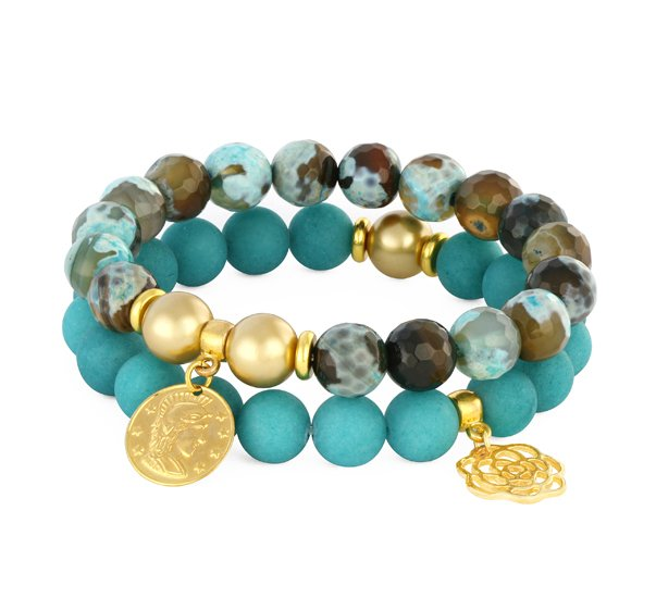 TURQUOISE, BROWN & GOLD SET.