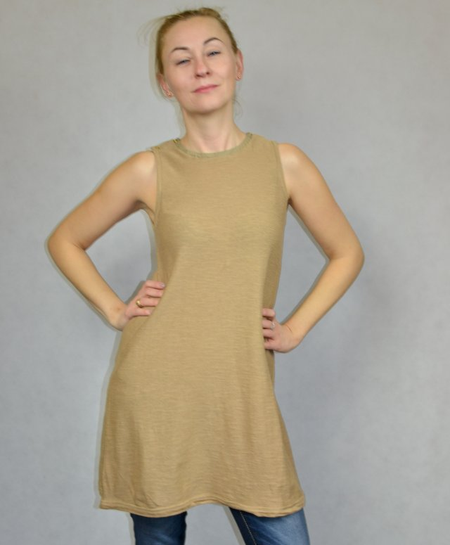Zara KNIT piaskowa sukienka M