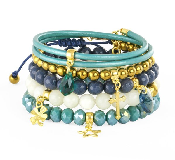 Baya 5 - seagreen, navy blue, gold & cream.