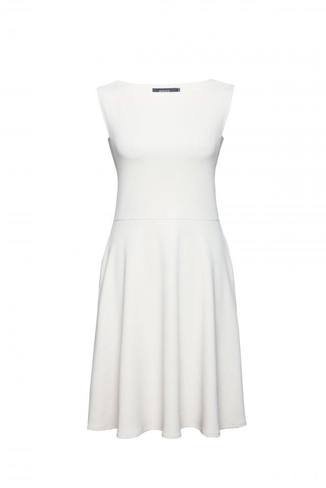 Sukienka rozkloszowana pudrowa beżowa 34