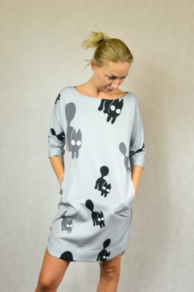 Ogromny LALOUS sukienka w koty L metka - Ubrania vintage - DecoBazaar HL17