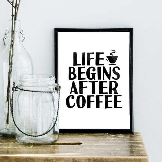 PLAKAT life begins after coffee....A3