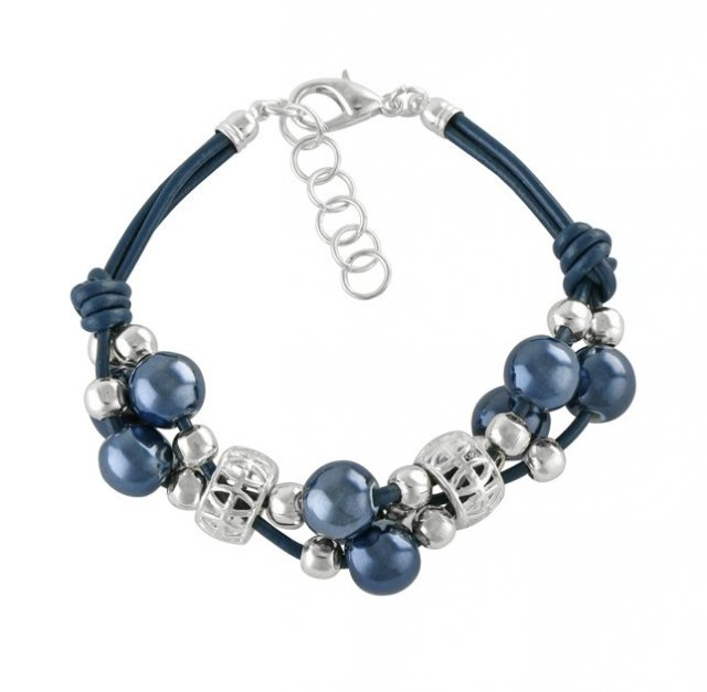 Grapes bracelet- navy blue.