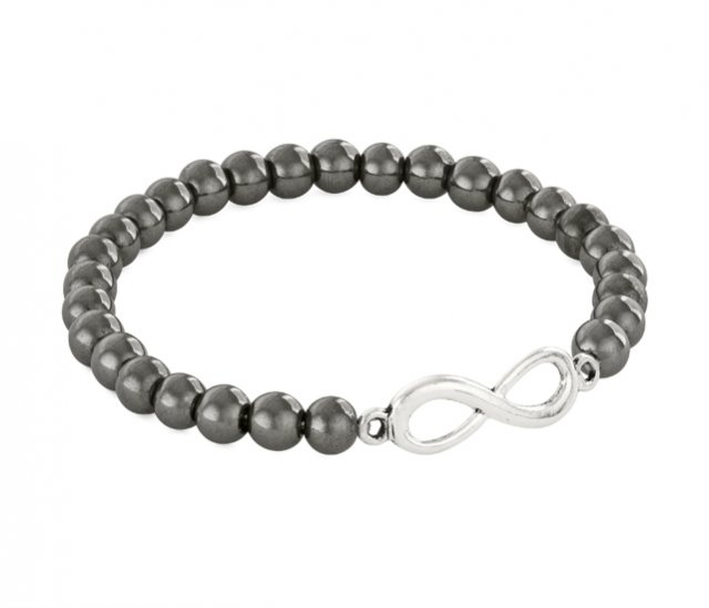 SIMPLY CHARM - STEEL HEMATITE WITH INFINITY.