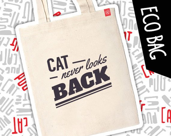 "Kot eko eco torba ""Cat never looks back"""