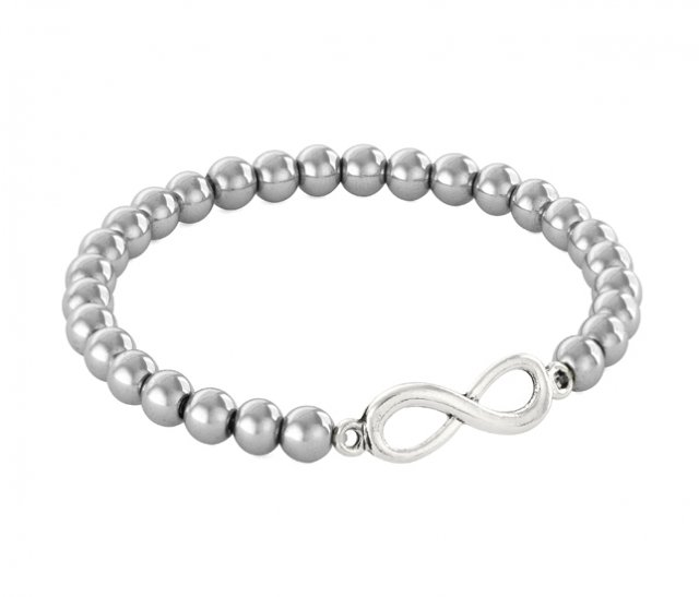 SIMPLY CHARM - SILVER HEMATITE WITH INFINITY.