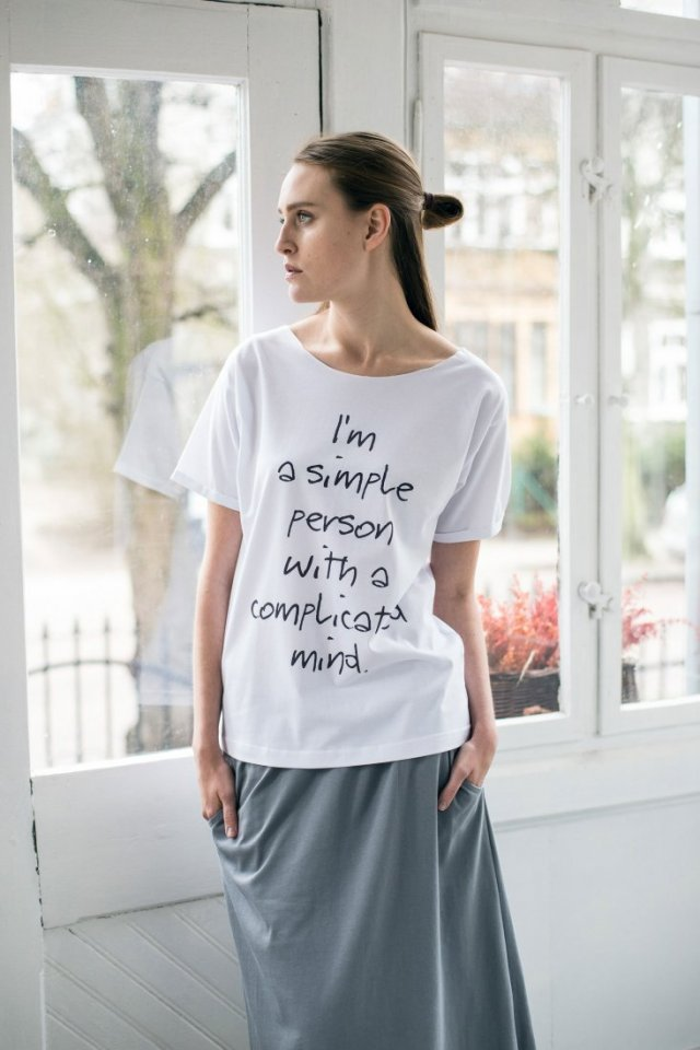SIMPLE PERSON - Oversize T-shirt BIAŁY