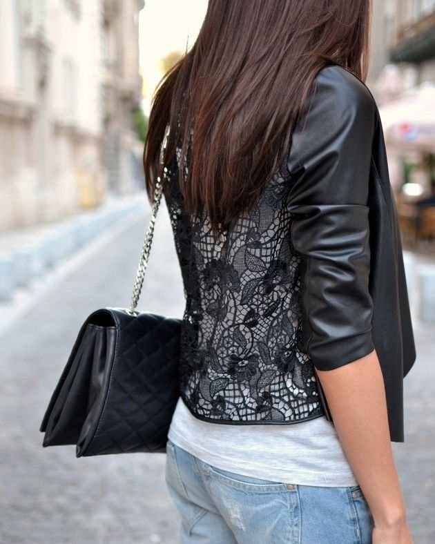 Zara Black Faux Leather and Guipure Lace Jacket