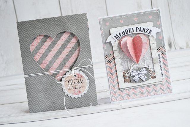 Zestaw ślubna kartka z ręcznie wykonaną kopertą w szarościach