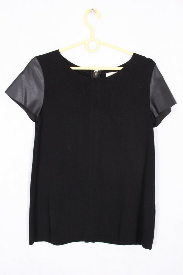 Zara Black Knit Top with Leather Sleeves