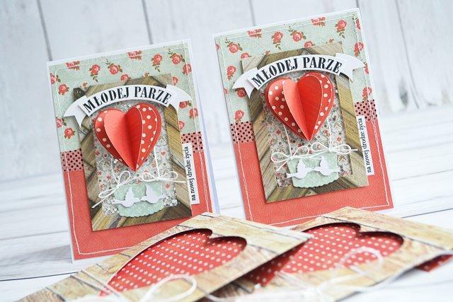 Zestaw ślubna kartka z ręcznie wykonaną kopertą