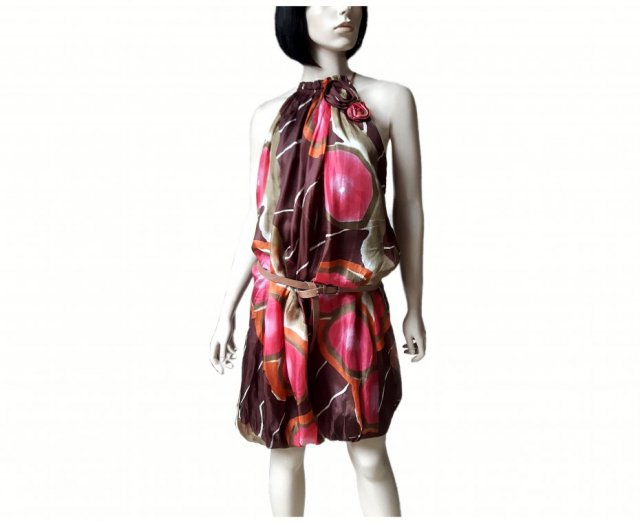 ZARA jedwabna  silk dress print S 36