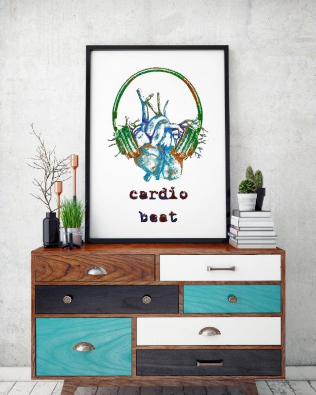Cardio beat_mix blue - plakat autorski 50x70