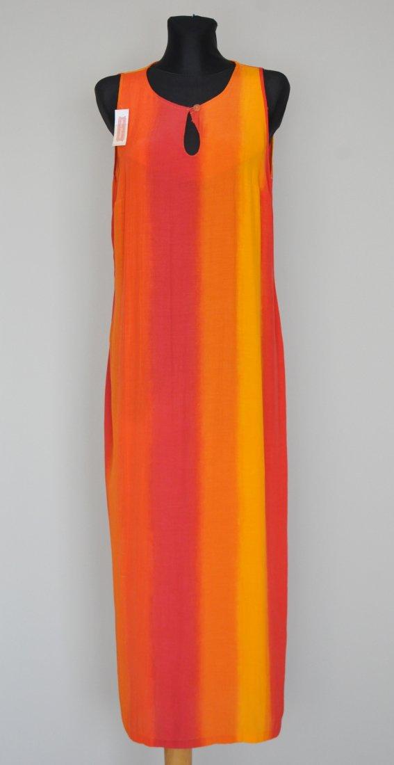 Długa pomarańczowa sukienka w pasy