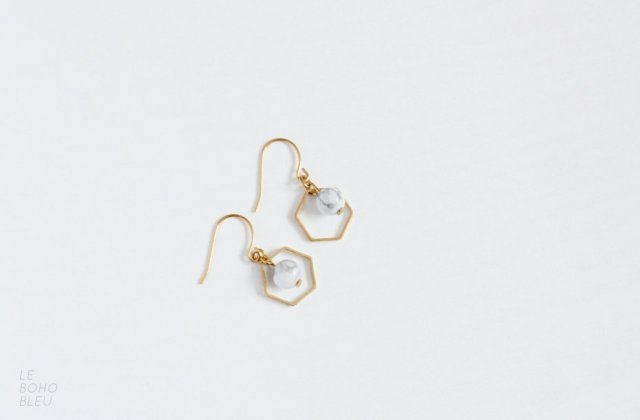 Howlite in Hexagon Earrings