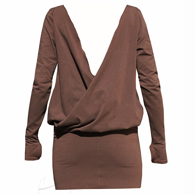 Backless jersey dress brown