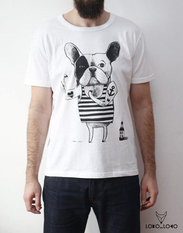 Koszulka Męska z Buldogiem Francuskim XXL - Lobo Loco