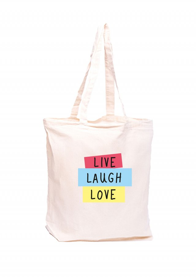Torba z nadrukiem - LIVE LAUGH LOVE - ecru