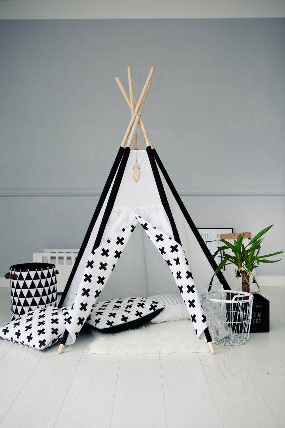 Tipi Teepee Namiot MINIMAL BLACK&WHITE - plusiki - LittleNOMAD