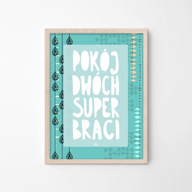 Plakat Do Pokoju Chłopców Ilustracja Do Pokoju Braci Plakat Dla Braci Pokój Dwóch Super Braci Miętowy Plakat Chłopięcy