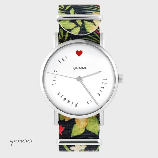 Zegarek - There is always time for love - kwiaty, nato