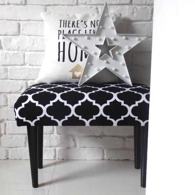 Ławka siedzisko koniczyna marokańska marokanka tapicerowana skandynawskie ławeczka czarna NA WYMIAR