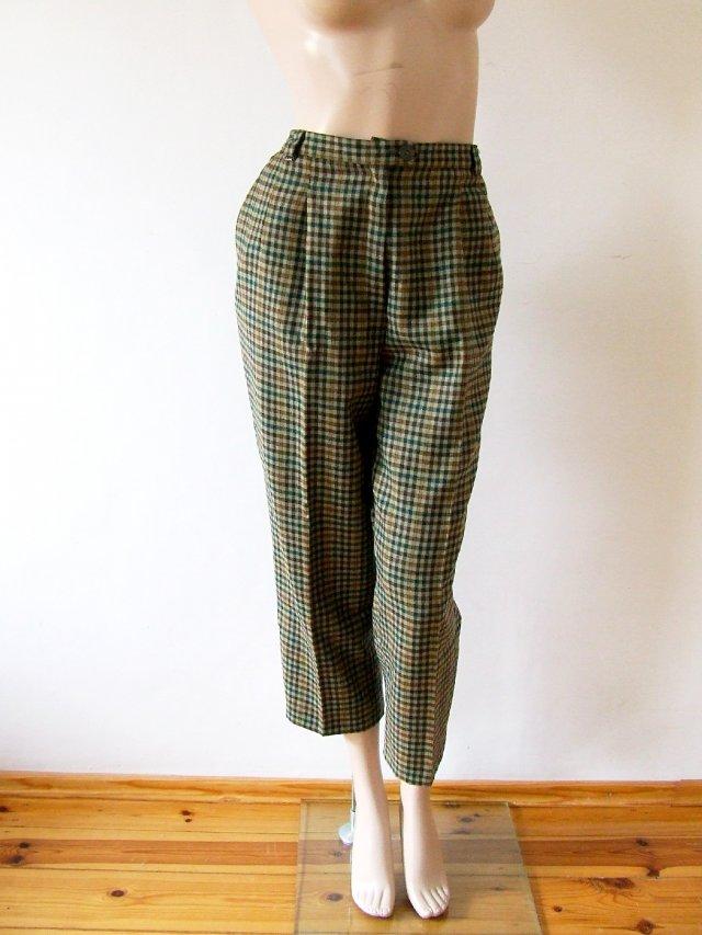 a1b8d850472337 Wełniane spodnie w kratkę z wysokim stanem 14/42 - Ubrania vintage ...