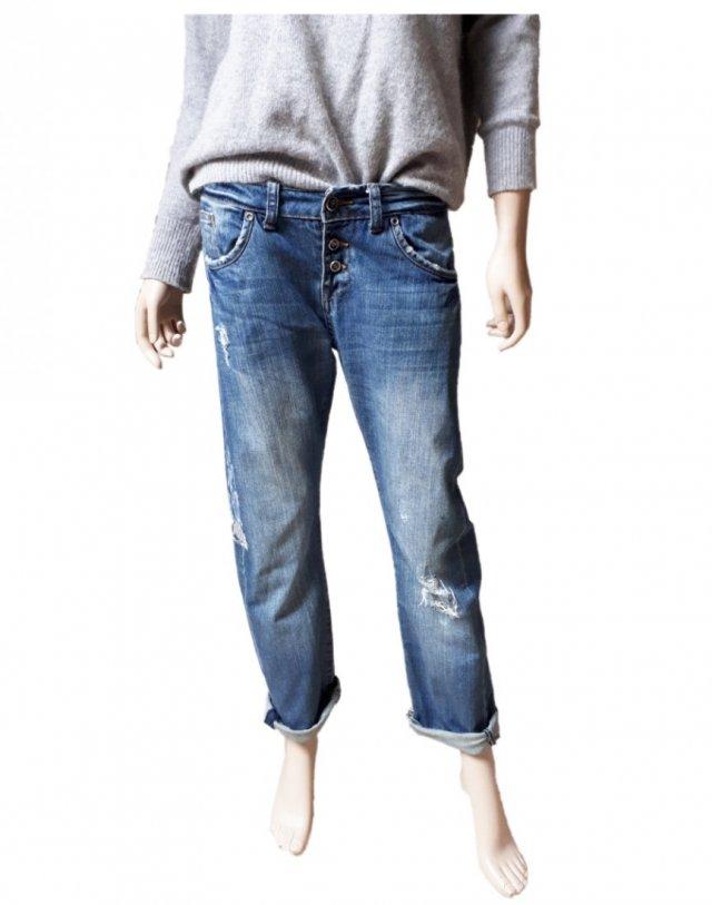 Reserved 38 jeansy boyfriend przetarcia
