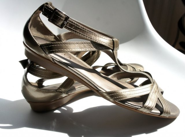 Ralph Lauren golden sandals