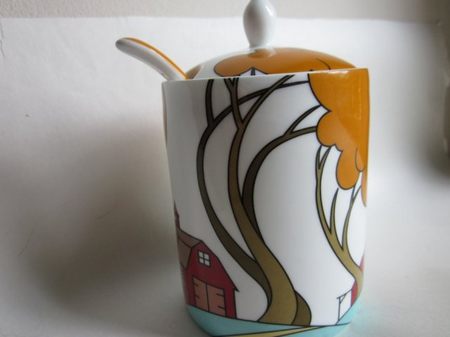 MODERN JAM POT AND SPOON - FARM BARN -CLARICE CLIFF INSPIRED