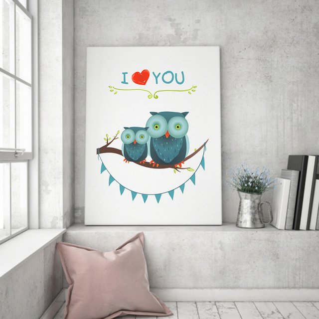 plakat. i love YOU (format A3) sowy