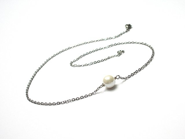 Alloys Collection - /one pearl/white/ -naszyjnik