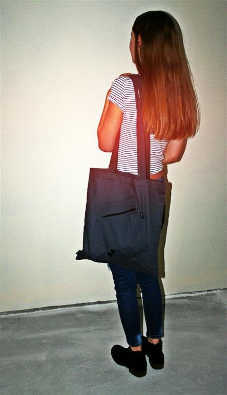 BUTTON ONE POCKET ECO BAG ciemno szara