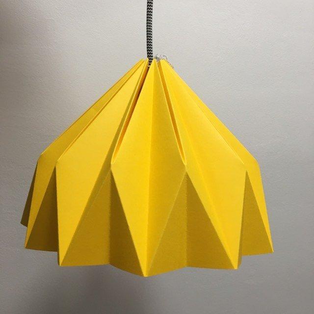 Abażur Papierowy żółty Ciemny 29cm Origami Origamilamp Dom Decobazaar