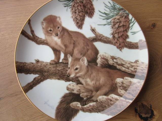 The Forest Year porcelain plate collection by JOHN FRANCIS -PINE MARTENS ON A FEBRUARY PERCH  -THE COLLECTORS STUDIO 1982 CRAFTED IN JAPAN