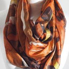 dbaaa6d5d691d0 KOmin, szal jedwabny,batik,prezent dla niej,brązowy,pomarańczowy,żółty