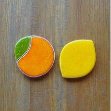 Ceramiczne pomarancza i cytryna na magnes