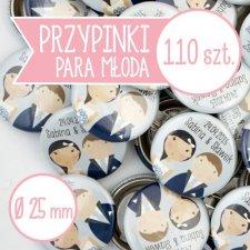 110 szt. przypinki ślubne Młoda Para 25 mm