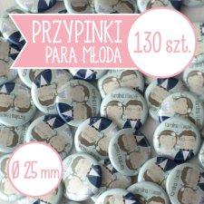 130 szt. przypinki ślubne Młoda Para 25 mm